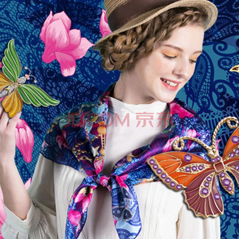 原创正品新款上海地图玉兰花昆虫丝绸礼物100%真丝有故事丝巾