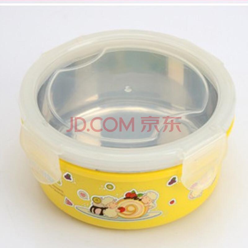 卡通图案密封双层隔热碗不锈钢儿童带盖碗防摔防烫宝宝碗泡面碗 黄色