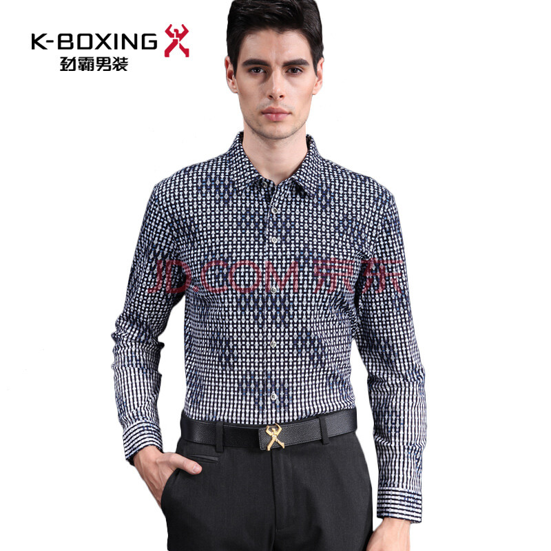 时尚欧式印花纯棉长袖衬衫