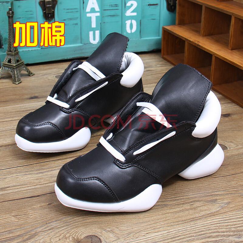 篮球鞋韩版低帮情侣厚底增高鞋个性男鞋马蹄鞋保暖情侣鞋jl7331 黑白