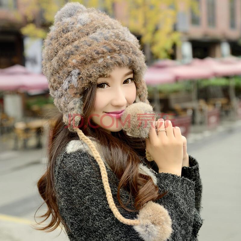 公主兔帽子女冬天韩版潮兔毛帽子护耳针织保暖毛线帽图片