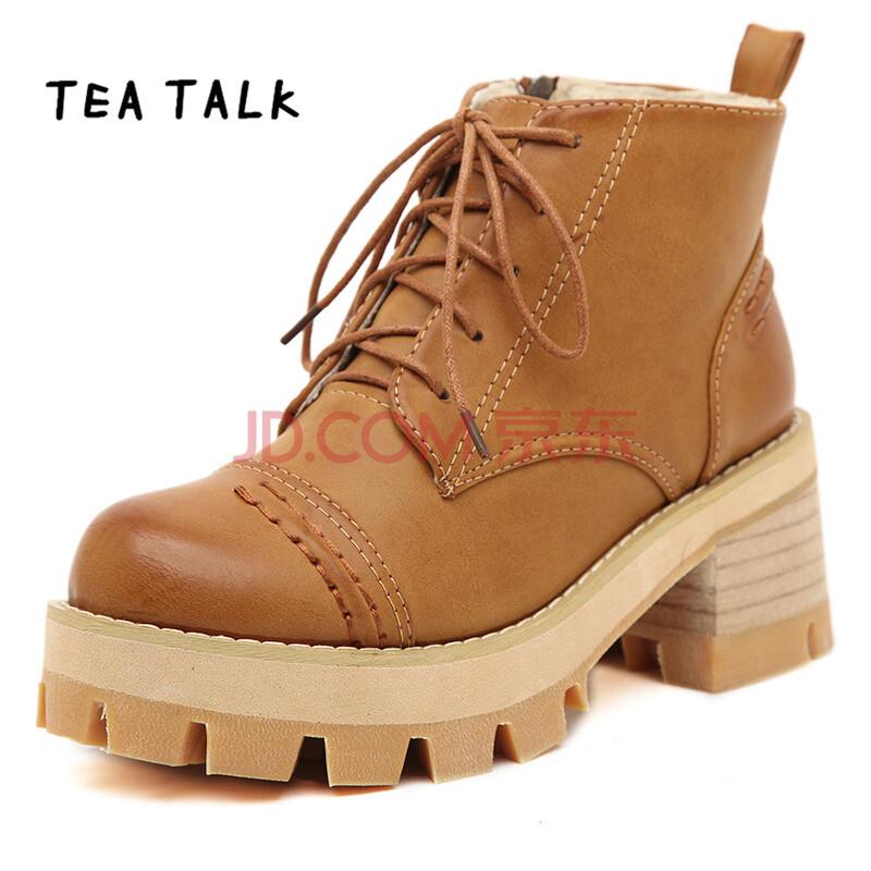 韩版粗跟系带短靴马丁靴