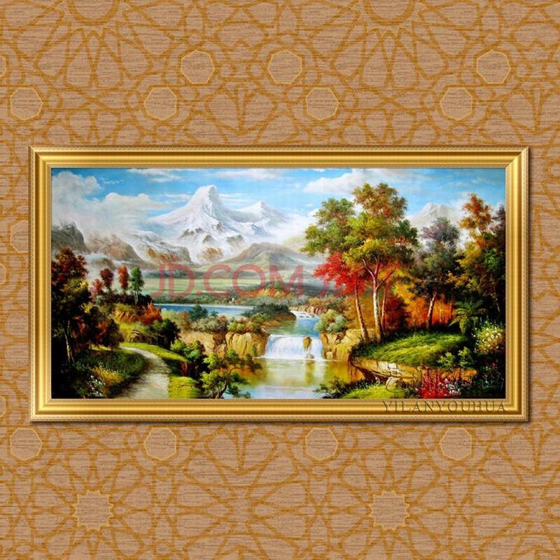 艺澜欧式风格自然山水景纯手绘油画 机关单位办公室挂