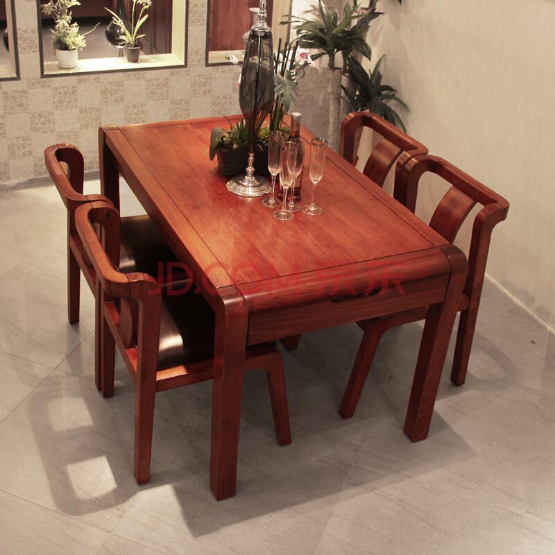 空中森林纯实木餐桌 现代简约小户型餐桌 餐桌椅套装 虎斑木特价 一桌