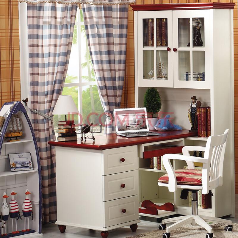 百森家居欧式书桌 田园书柜儿童实木电脑桌带书架 直/转角组合储物书图片