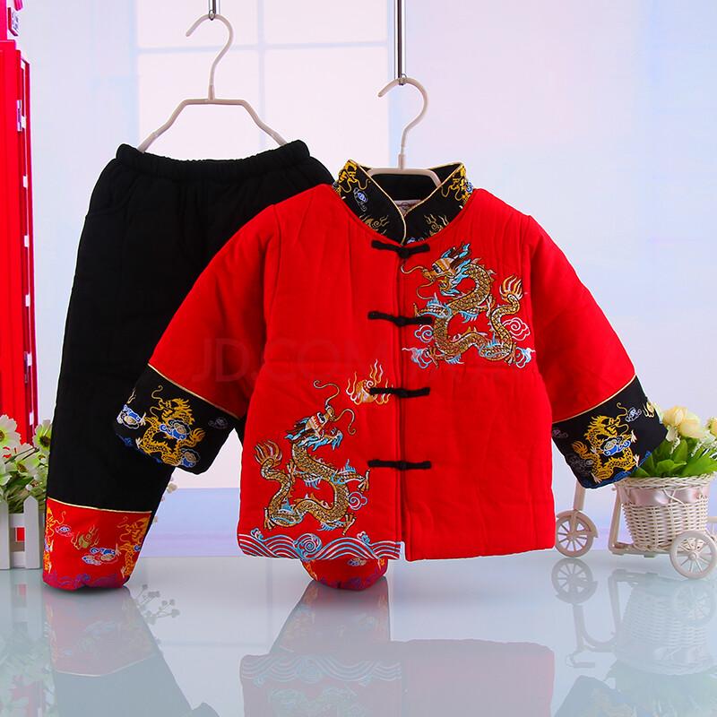 儿童唐装男童冬装绣龙古装加厚棉衣新年童装宝宝套装 红色 130cm
