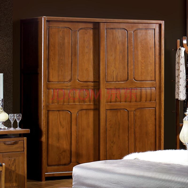居克斯邦 全实木衣柜 现代中式家具 推拉门 趟门衣柜