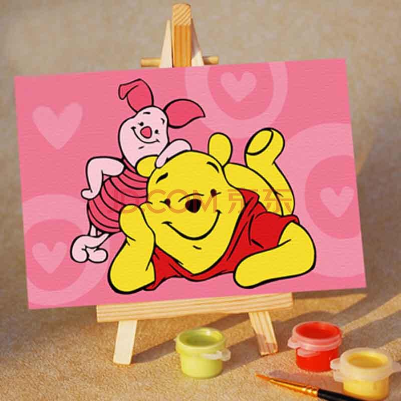 儿童益智数字油画 卡通手绘画 可爱迷你diy摆设 小熊维尼 10*15