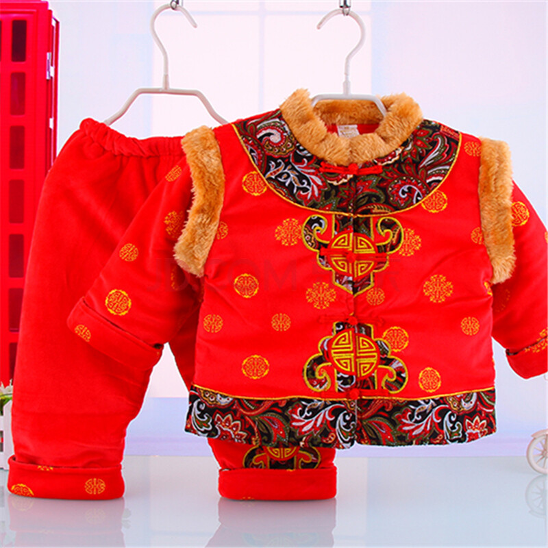 儿童唐装冬装男童新年套装加厚宝宝唐装婴儿冬季保暖