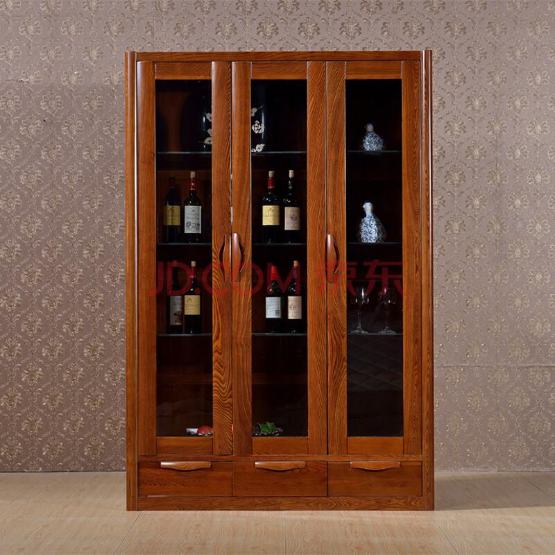 帕加迪 全实木酒柜 榆木三门酒柜新中式酒柜图片