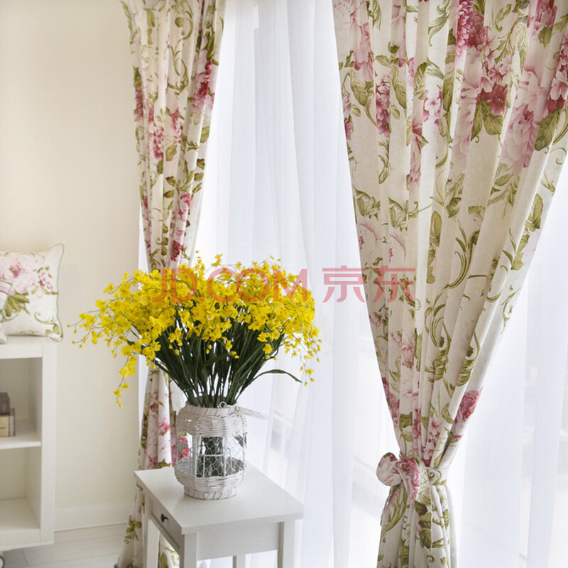 诺迈迪 尤朵拉系列花纹 厚麻 窗帘 韩式田园布艺客厅