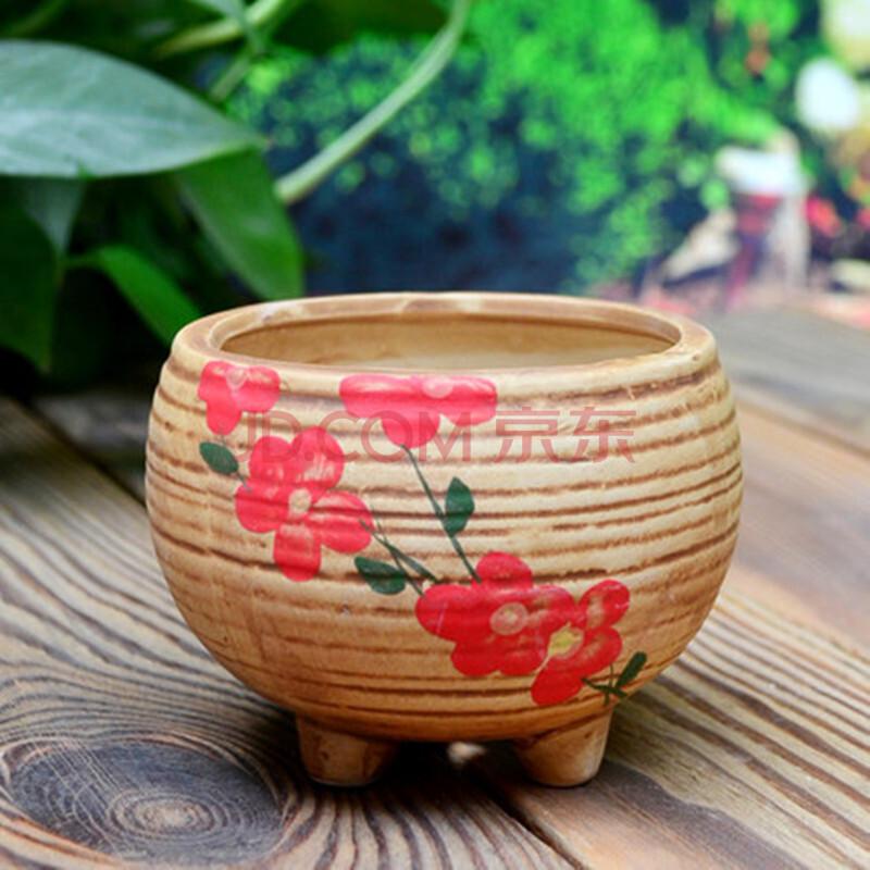 堇辰 韩国手绘陶瓷花盆 多肉植物 盆栽花盆 多肉盆 复古花盆 花器 带