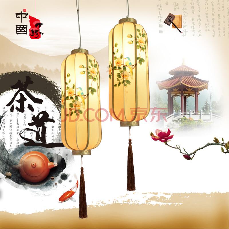 长形灯笼布艺手绘国画仿古艺术灯具客厅灯