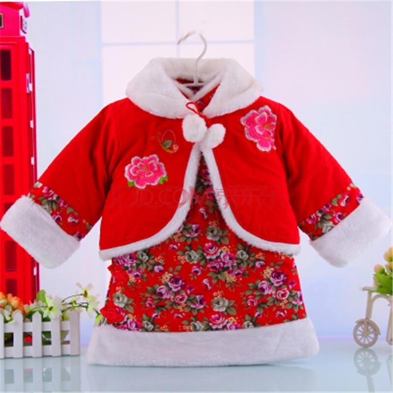 儿童保暖唐装旗袍 女童冬季套装宝宝保暖披风上衣
