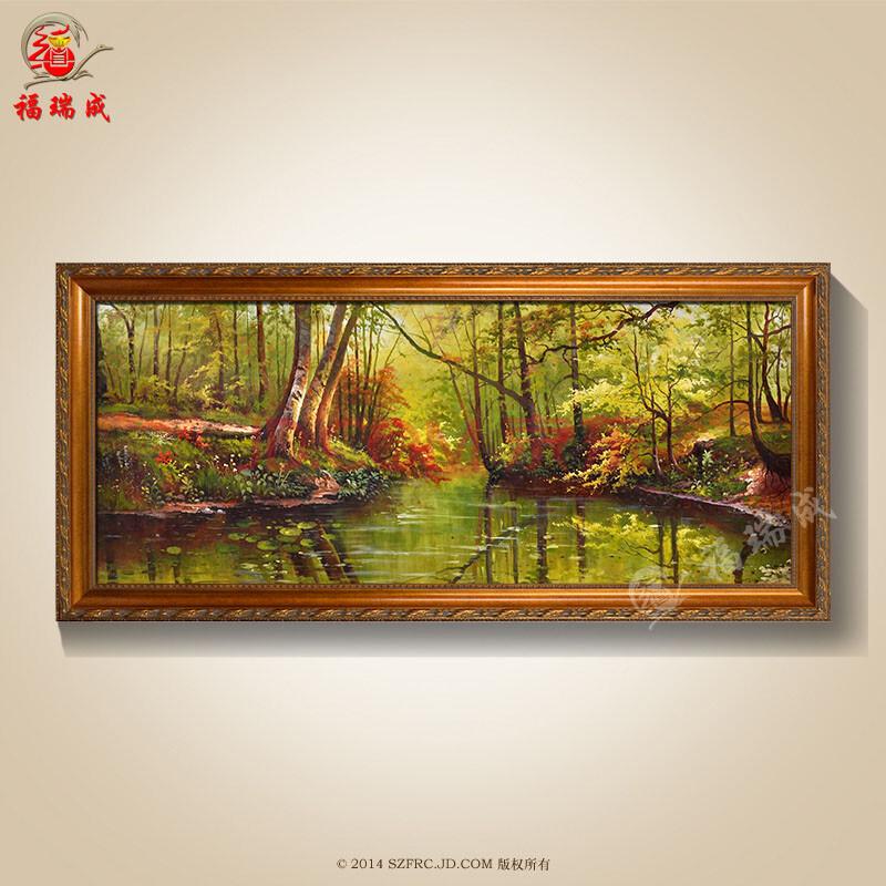 古典风高档纯手绘带框聚宝盆油画简欧式客厅装饰画70-180(45)1 作品一