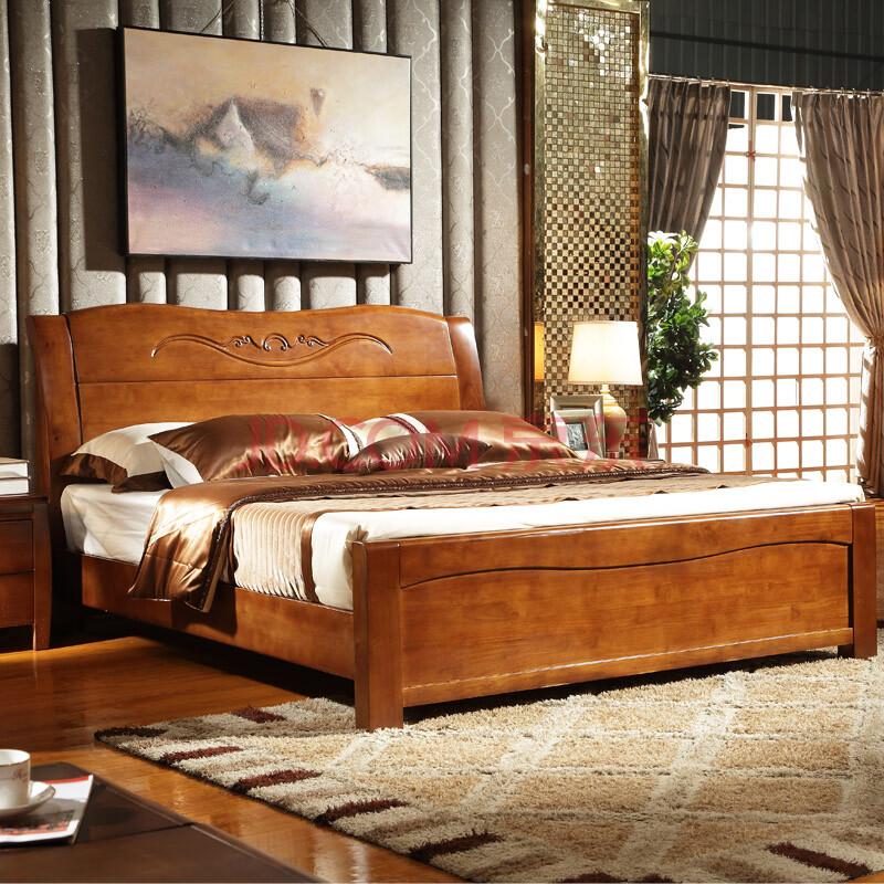 品尚美家 超厚实木床 橡木床双人床 板式田园床 中式现代 简约家具