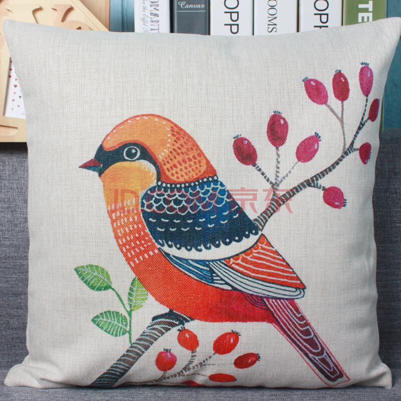 木有年轮清新手绘插画花鸟抱枕靠垫 厚实棉麻沙发靠垫办公室护腰靠背