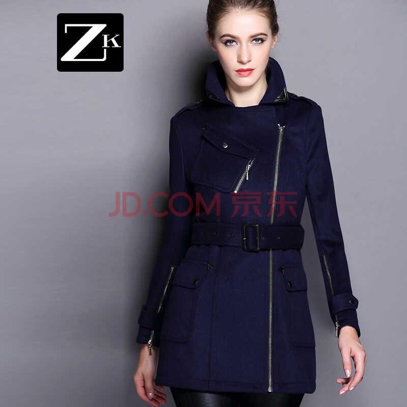 ZK2015女装秋冬新款毛呢大衣 中长款毛呢外套 宝蓝色 L