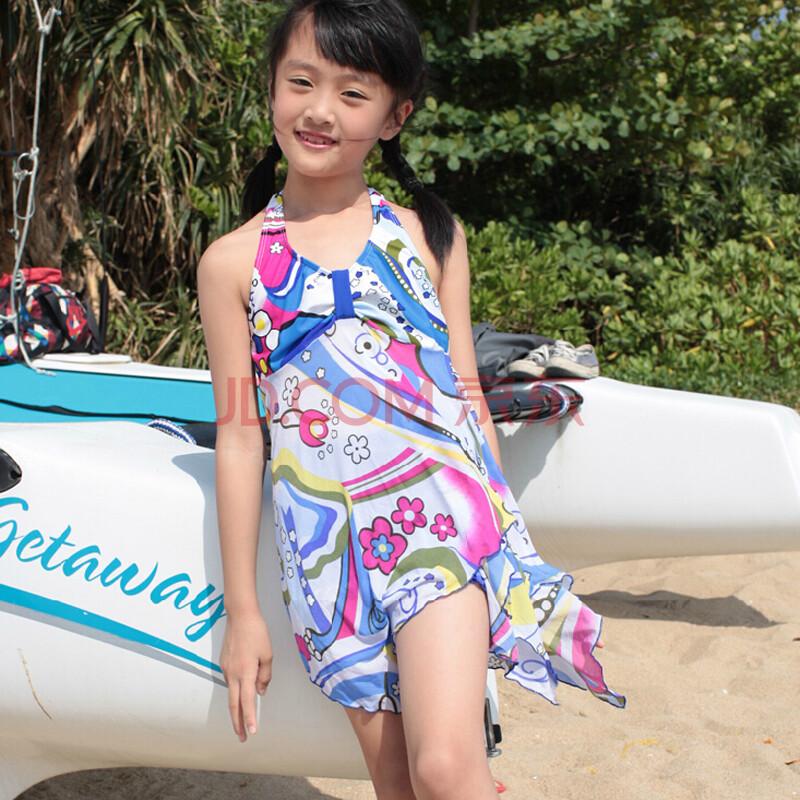 小骚浪超嫩小女�_弈格亦浪儿童泳衣女 女童分体裙式平角裤小孩韩版泳装小中大童宝宝