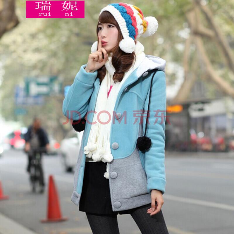 瑞妮2014年冬装新款韩版学院风少女装初高中学生装加厚棉衣长外套女图片