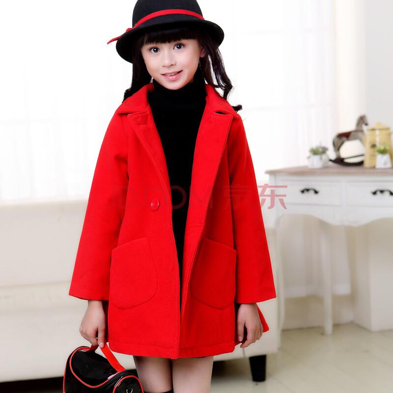 童毛呢外套韩版2014秋冬装新款冬季儿童加厚呢子大衣 红色14c8828b