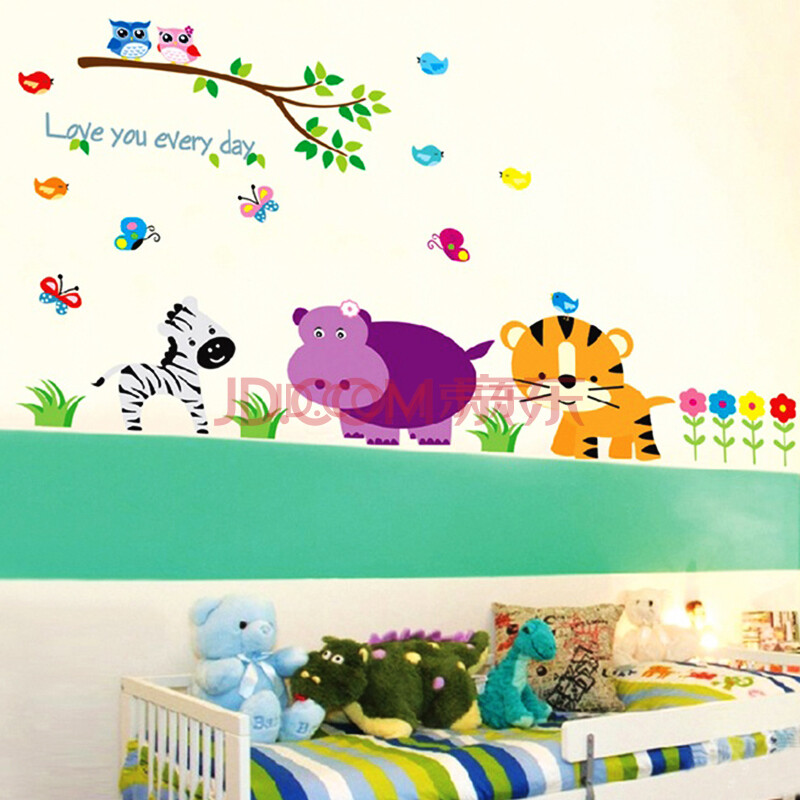 动物可爱墙画手绘图片