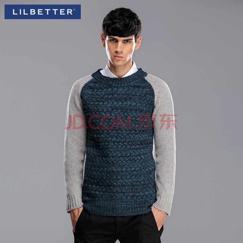 男�9il�l#�+_liilbetter圆领毛衣男 2015新款插肩袖拼接复古外套 男士针织衫潮