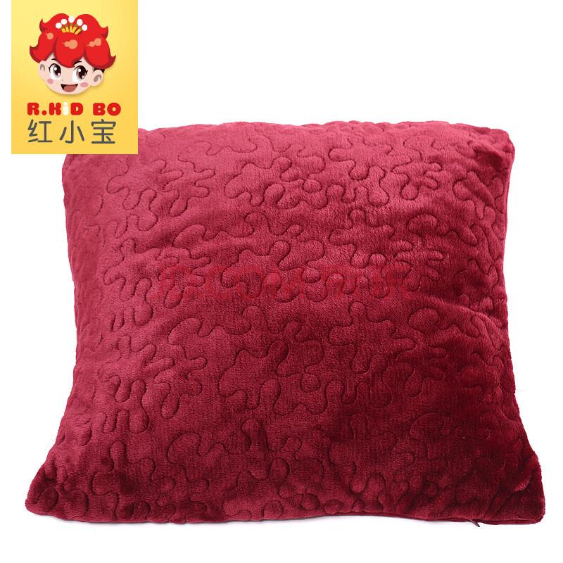145170060法兰绒正方形抱枕 莓红色