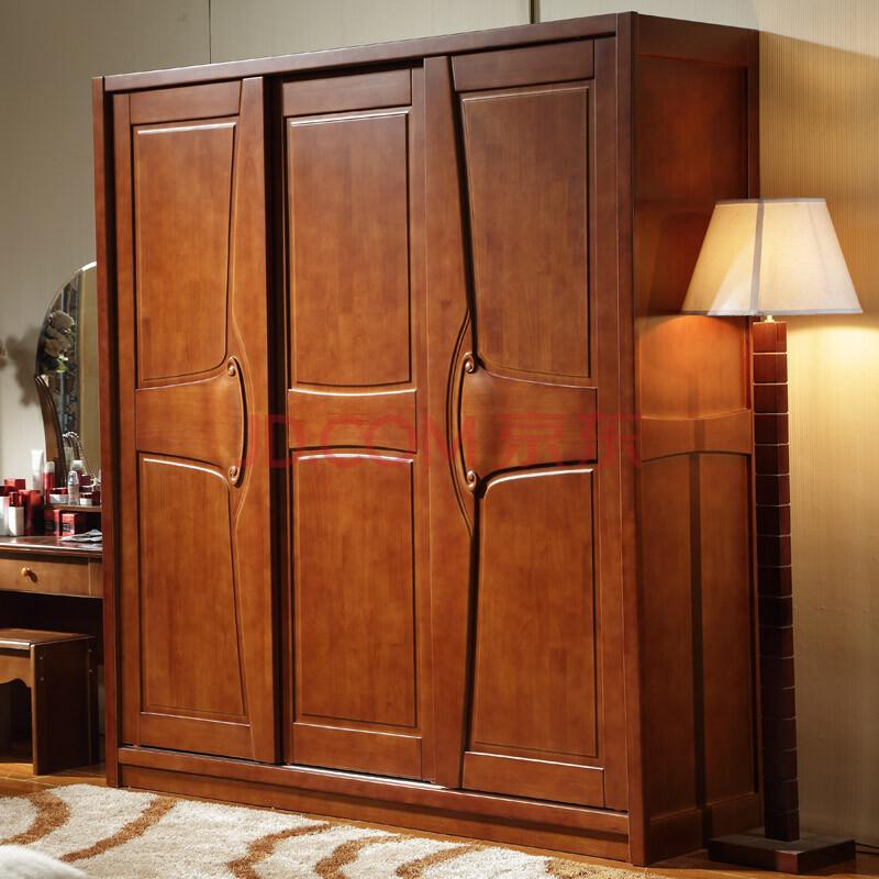 品尚美家 衣柜 橡木衣柜 推拉门衣柜 简约现代三门衣柜 组合整体衣橱