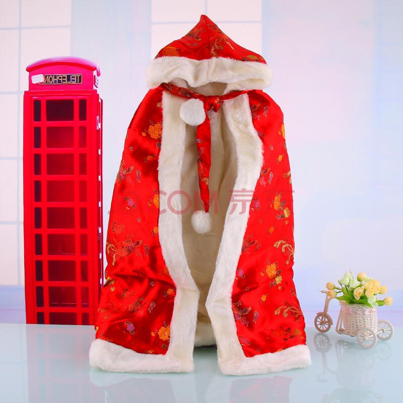 婴儿披风斗篷秋冬款加厚小孩男女宝宝儿童披肩外套丝绸大红喜庆 红色