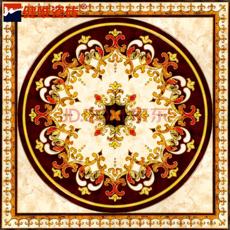 健唯瓷砖 客厅镀金抛晶砖拼花地垫拼图地毯砖玄关入户地板砖 kt-pj801