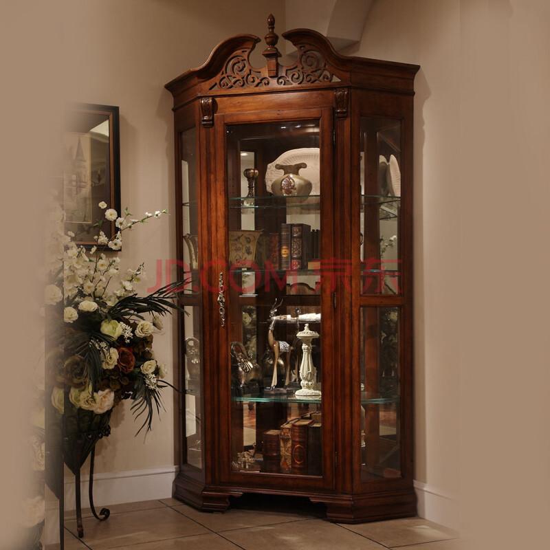 信益轩 美式单门实木奢华客厅玻璃小酒柜 欧式定制装饰柜