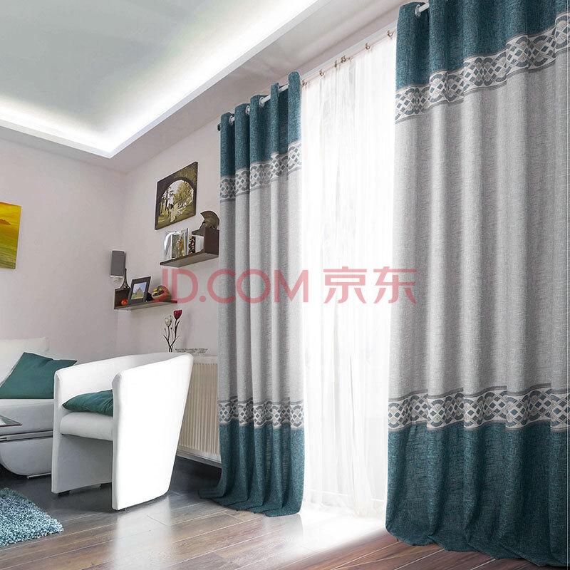 致尚 拼接粗麻半遮光窗帘布 卧室客厅环保布帘 kq551