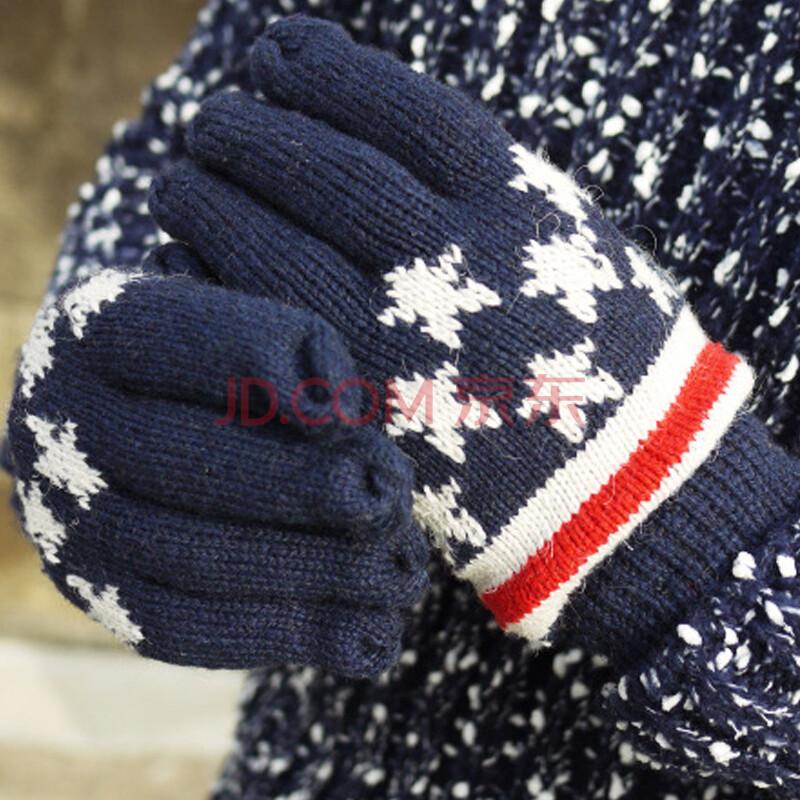 2014韩版男女士情侣款五指手套 五角星毛线手套mst142435 藏青