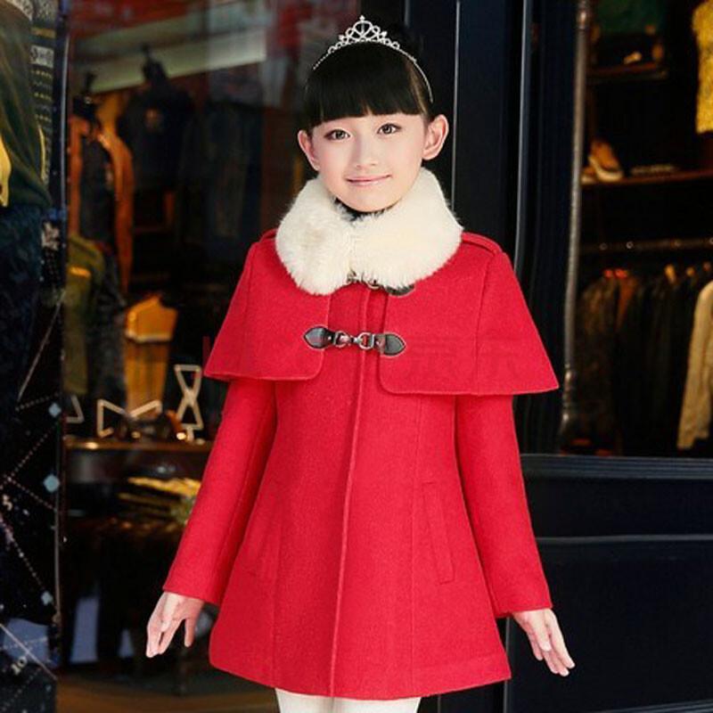 中大儿童时尚斗篷披肩加厚加棉外套