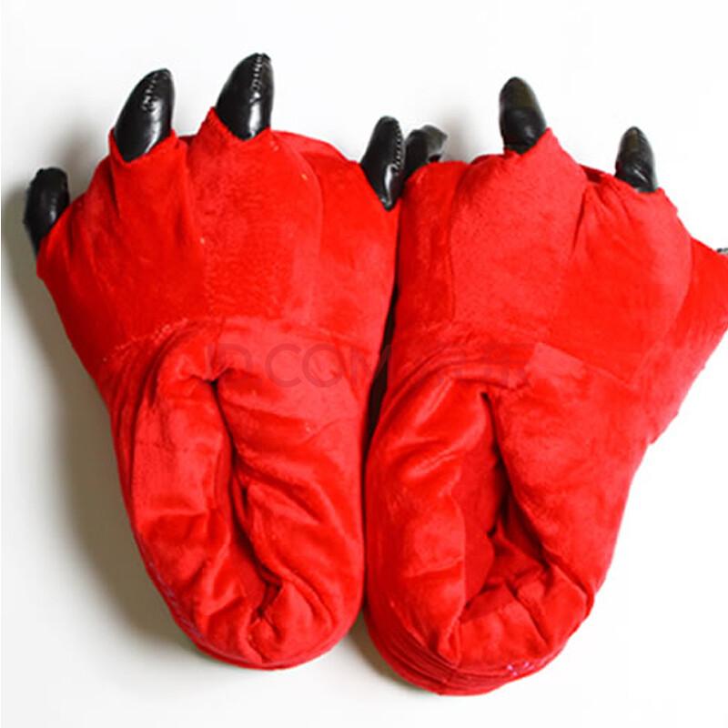 秋冬季超柔珊瑚绒爪子鞋子恐龙史迪奇连体睡衣专用毛绒爆款爪子 红