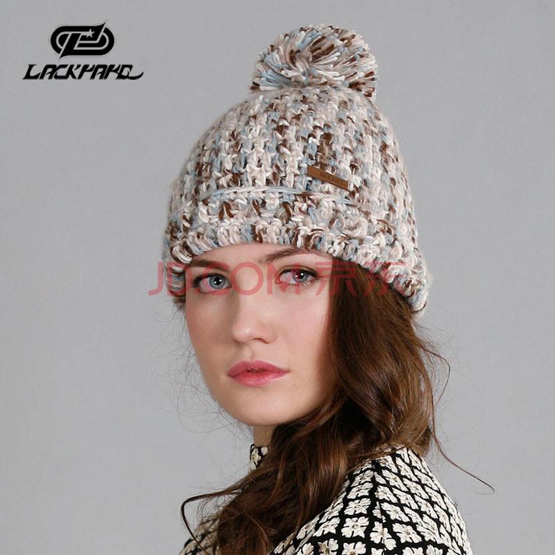 2014新款秋天冬季针织帽子女士韩版潮可爱韩针护耳冬帽子 蓝色