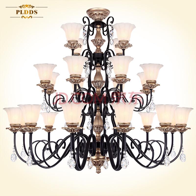 复式楼客厅大吊灯饰欧式别墅三层楼梯长树脂灯具美式