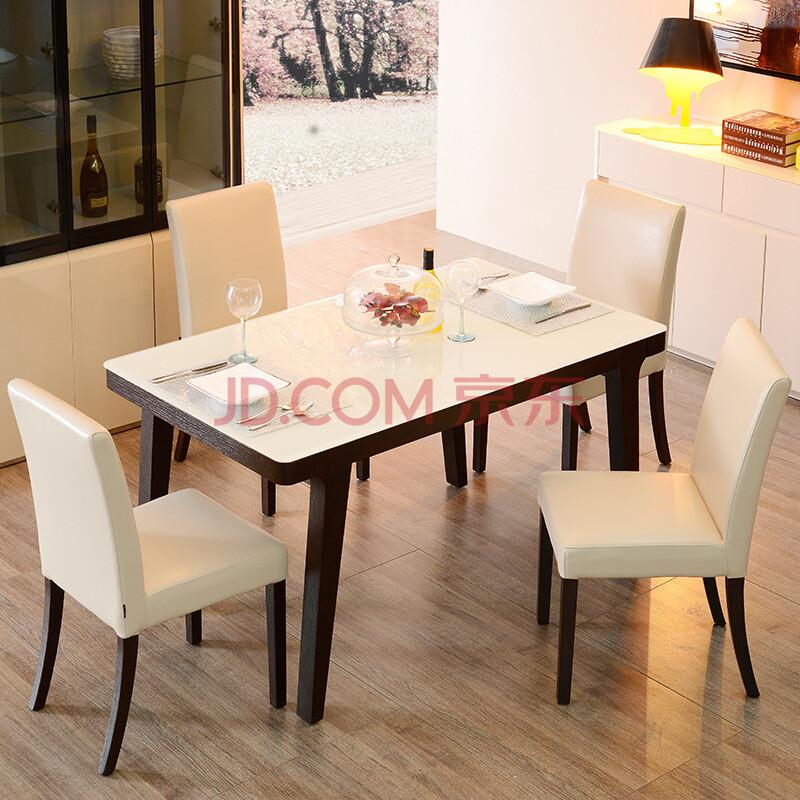 汉洋 钢化玻璃饭桌小户型简约北欧酒饭店木质特价 餐桌