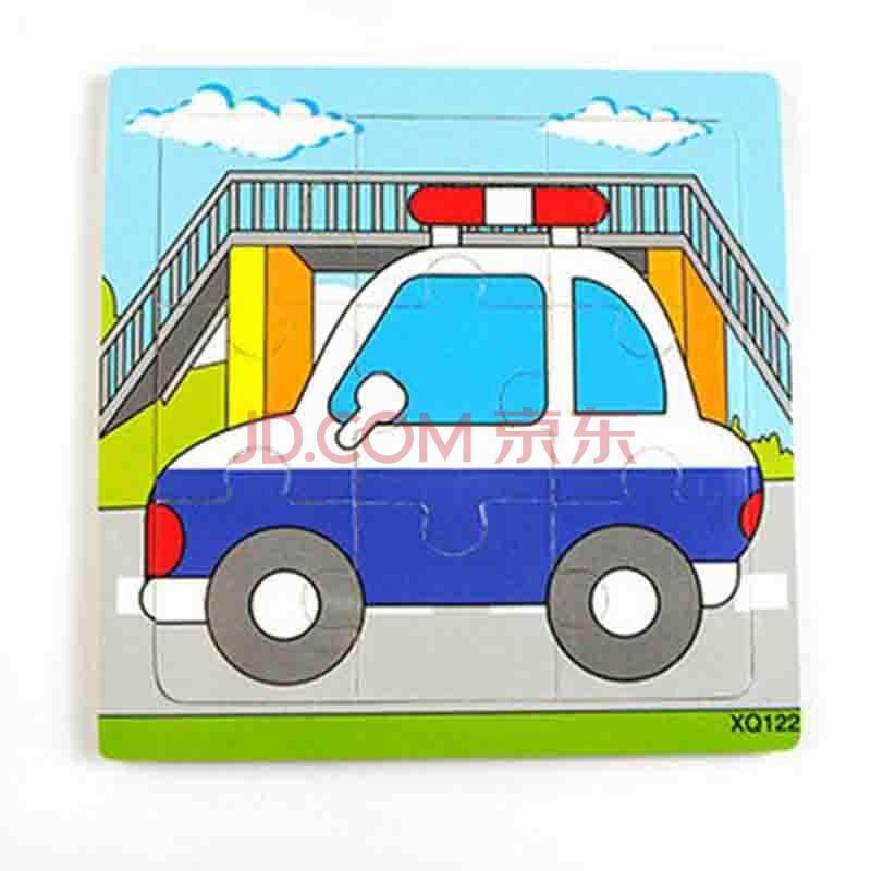 积木拼图玩具卡通动物交通幼儿园拼版儿童益智玩具9片0-1-2-3岁 警车