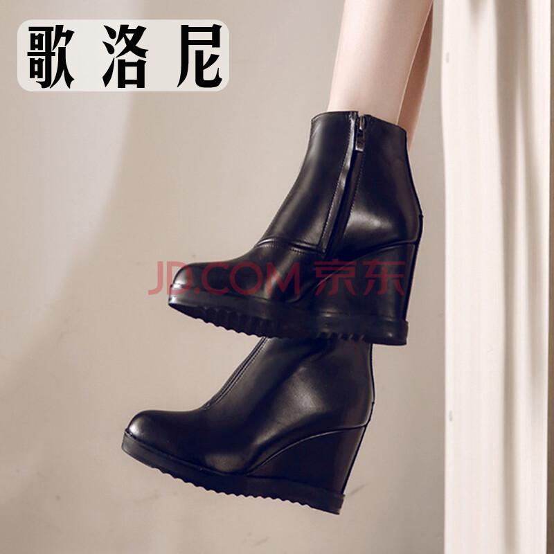 歌洛尼坡跟真皮圆头短靴女冬款高跟马丁靴高防水台尖头踝靴时尚优雅侧图片