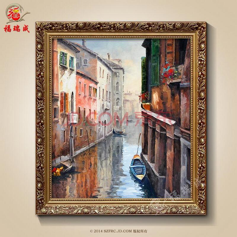 手绘装饰画建筑风景威尼斯水城高档家居现代壁画客厅别墅纯手绘装饰挂