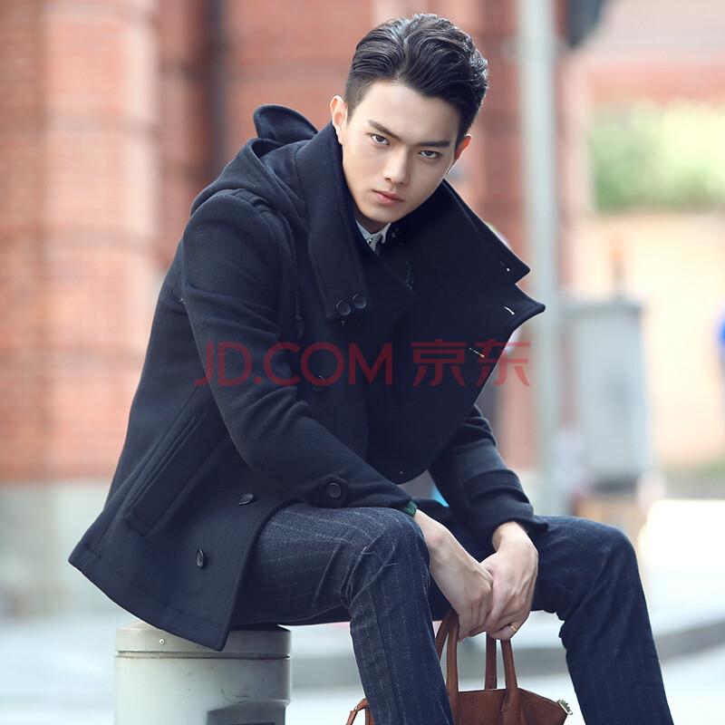 秋冬新款潮男装韩版修身羊毛呢大衣欧美男士