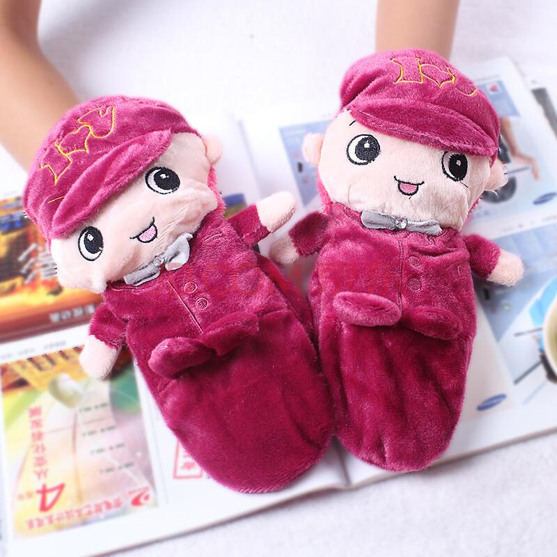韩版可爱毛绒手套 女生卡通冬季保暖加厚 新款 冬季 保暖手套 紫色