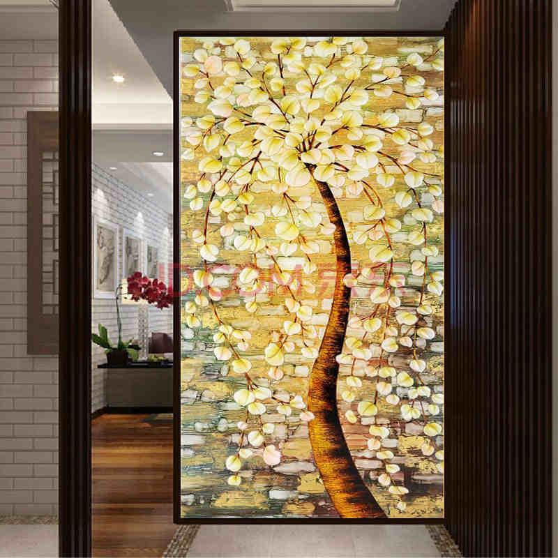 发财树富贵平安树百合花客厅欧式风景画 发财树棉线印花110*60厘米