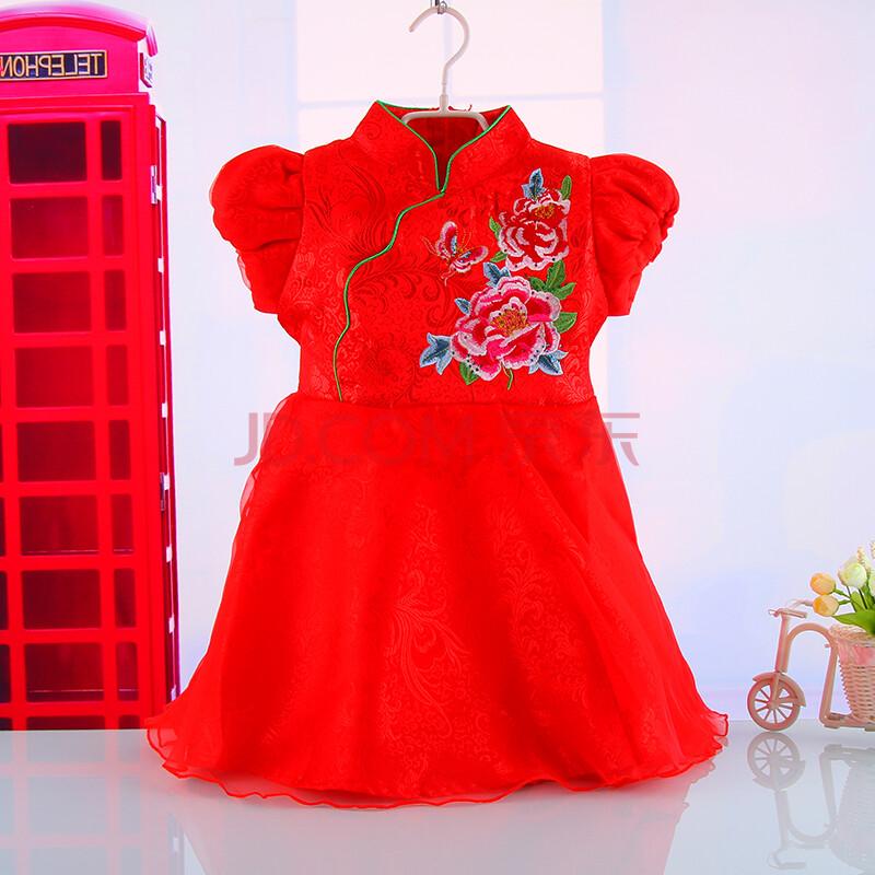 儿童唐装旗袍冬季新款1-5岁女童华丽礼服泡泡袖立领