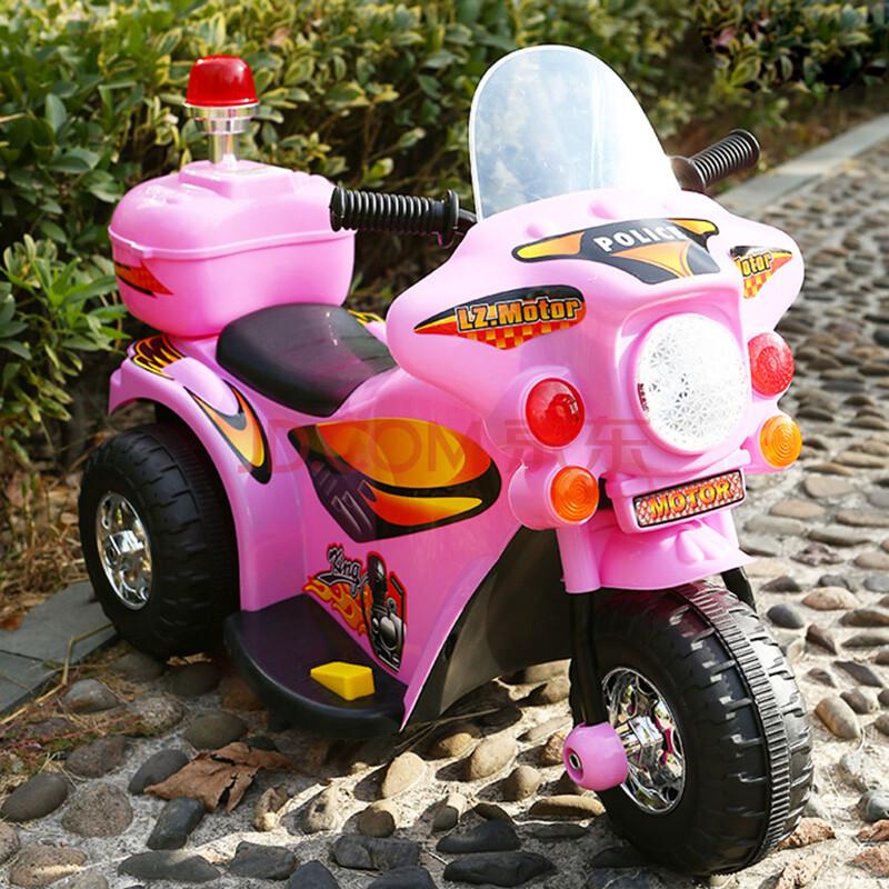 儿童电动摩托车 小孩子可以骑的儿童电动车三轮摩托车童车 粉红色
