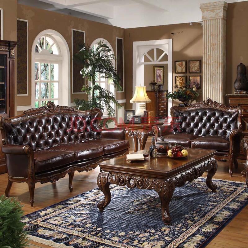 信益轩 欧式沙发 实木真皮 豪华高档美式皮艺组合客厅