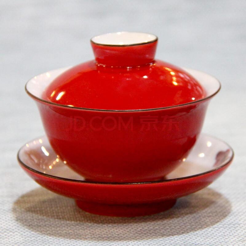 莲品茶具 盖碗 德化白瓷 手绘莲花釉下彩盖碗茶杯 描边三才碗 手绘