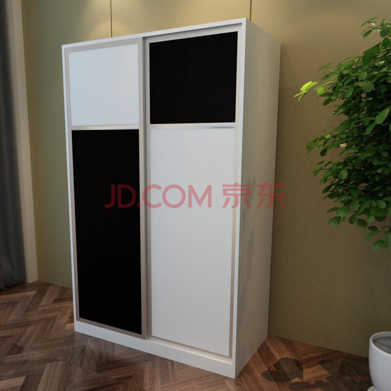 现代简约卧室推拉门衣柜 储物柜 黑白拼色衣橱收纳箱 双门大衣柜